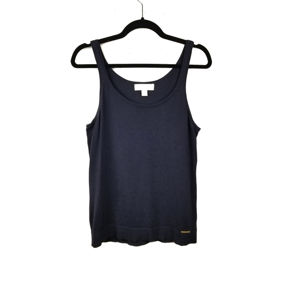 Michael Kors Tops - MIcheal Kors Navy Blue Cotton Knit Tank Top